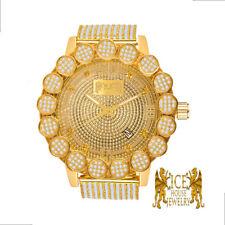 Real Diamond Roman Numeral  Yellow Gold Tone Pave Flower Bezel Custom Band Watch