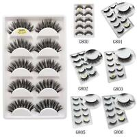 5 Pairs 3D Mink Soft Long Natural Thick Makeup Eye Lashes False Eyelashes Black