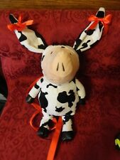 Gently Used, Olivia Pig in Cow Costume with Bows Plush Backpack