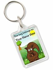 Personalised Kids Childs School Bag Tag Animal Keyring With Squirrel AK74