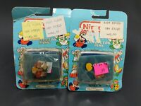 Vintage Nintendo Collector pins lot Of 2 Piranha Flower And Mario Hammer 1989