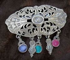 "Victorian Brooch wFiligree/Floral Motif, Enamel Charms Lg 3"" x 2.5"" Solid Brass"