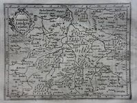 Original antique map GERMANY, HESSE-KASSEL, 'Hassia', Mercator, Hondius, 1637