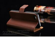Iphone 5/5s/SE Leather Case Wallet With Stand For  Flip Book Cover Brown