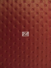 """VINYL FAUX FAKE LEATHER PLEATHER TUFTED LUXURY PRESSED PVC FABRIC - Rouge - 54"""""""