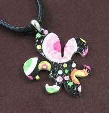 Multi Print Laser Fleur de Lis Lily Flower Necklace Pendant Leather Silver Tone