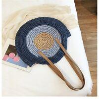Summer Round Straw Bags Women Rattan Handmade Woven Beach Shoulder Handbag Totes