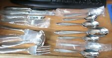 15 Pieces Oneida Aurora Stainless Mixed Lot Knives Forks Gravy Serving Spoon For