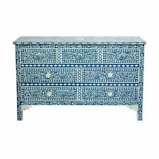 Sideboard Bone Inlay Blue Flower Wood Chest of 7 Drawer Dresser