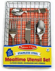 Melissa & Doug Stainless Steel Mealtime Utensil Cutlery Set w Tray 4 Play & Eat