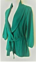 Alfani Women's M Emerald Green Shawl Collar Tie Front Career Sweater Cardigan