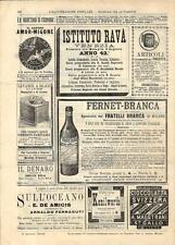 Stampa antica pubblicità FERNET BRANCA ed altro 1891 Old antique print