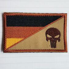 PUNISHER SKULL GERMANY FLAG GERMAN FLAG MORALE DESERT HOOK LOOP PATCH BADGE TAN