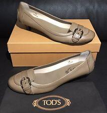 New NIB TOD'S Tan Vintage Leather Ballet Ballerina Low Heels Dress Shoe 39 8.5 9
