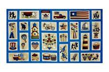 "24"" Fabric Panel - Henry Glass Libertyville Rustic Patriotic Blocks Blue"