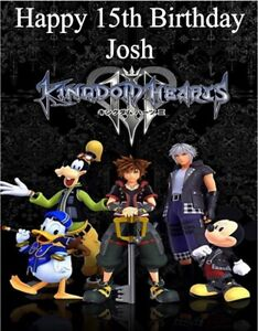 """PERSONALISED KINGDOM HEARTS BIRTHDAY CAKE TOPPER A4 ICING SHEET 10"""" X 8"""" image"""