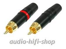 1 Paar vergoldete Neutrik / REAN Cinch Stecker NYS373 Spannzangen-Zugentlastung