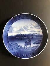 Royal Copenhagen Christmas Plate 1968 The Last Umiak Denmark Kai Lang Blue