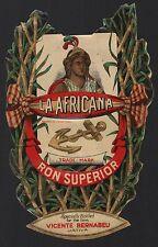 La Africana Ron - Rum Etikett / rhum label / etiquette de rhum / ~ 1900 #2141