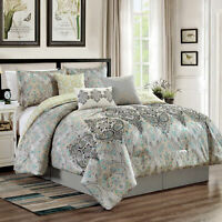Chezmoi Collection 7-Piece Paisley Scroll Medallion Embroidery Comforter Set