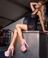 """7"""" Barbie Pink Suede Platform Stripper Heels Pleaser Dancer Shoes size 7 8 9 10"""