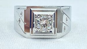.35 ct natural DIAMOND mens solitaire pinky ring 18k white GOLD ( SEE VIDEO)