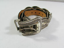 Vintage 90's Cowgirl Brighton Silver Metal & Leather Belt Size 40