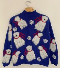 Vtg Marisa Christina Women Christmas Sweater Pm Blue Polar Bear Wool/Angora Bl.
