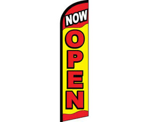 Now Open Yellow / Red / White Windless Banner Advertising Marketing Flag