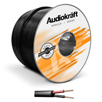 Per Metre AudioKraft 2-Core Indoor/Outdoor Speaker Cable Black Premium HiFi Wire