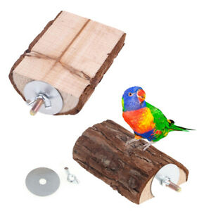 Pet Parrot Wooden Birds Cage Perches Stand Platform Parakeet Budgie Play Toys