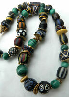 African Trade Beads Necklace, rare black Venetian Fancy beads, malachite beads