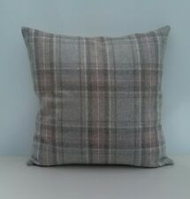 "Barton Plaid Heather 17"" Wool Cushion Cover Grey Beige Rose Pink Check Tartan"