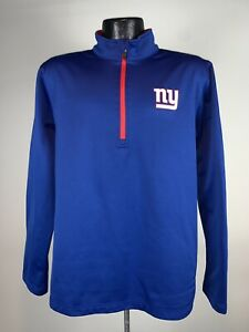 Men's Majestic Therma Base 1/4 Zip NFL New York Giants Blue Football Pullover M