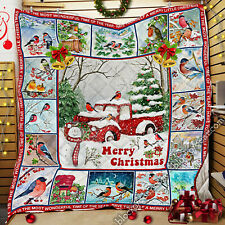 Christmas Red Truck And Bullfinch Quilt