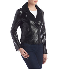 NWT KENNETH COLE NEW YORK BLACK PATENT LEATHER MOTO JACKET SIZE L $185