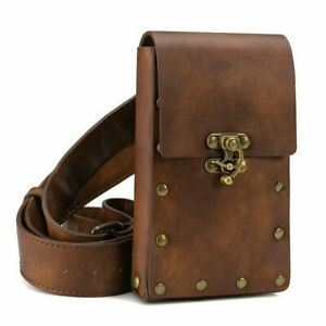 Men Women Steampunk Medieval Bag Belt Leather Saddle Accessory Adults Cosplay