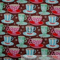BonEful Fabric FQ Cotton Quilt Brown Chocolate Swirl Coffee Cup Hot Cocoa Toile