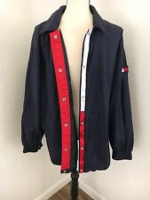 Vintage Tommy Hilfiger Logo Windbreaker Snap Button Jacket Navy Size Large