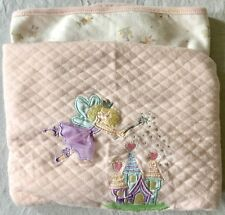 Fariy castle Embroidered Appliqué pink white thick Baby Blanket 100% Cotton