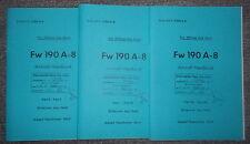 Fw190 A-8 FockeWulf 1944 Handbuch Luftwaffe 3 Hefte Dienstvorschrift in englisch
