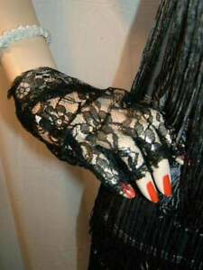 24/1 NEW BLACK LACE 1920`S STYLE SHORT GOTH/PUNK FINGERLESS GLOVES
