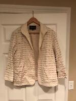 Lafayette 148 New York Tan Fringe Jacket, Size Large