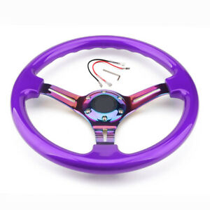 350mm 14inch Universal ABS Deep Dish Racing Steering Wheel Neo Chrome & Purple