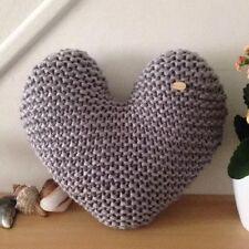 Handmade Hand Knitted Grey Heart-Shaped Decorative Cushion