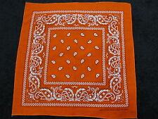 Paisley Bandana Double Sided Orange White Size 22 X 22 Inches 100% Cotton