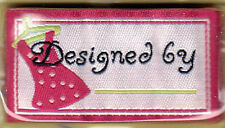 """LA MODE IRON ON LOVE LABELS -""""DESIGNED BY __________""""  - SET OF 4 PC"""