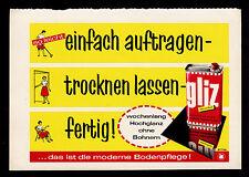 3w1968/ Alte Reklame von 1960 - GLIZ glänzt ohne Bohnern viele Wochen.