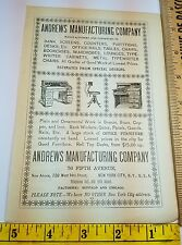 1896 Ads Advertising Andrews Furniture MFG Co Glenns Sulphur Soap New York NY