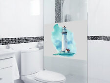 Fensterfolie Leuchtturm Sichtschutz für Bad, maritim Dusche Glastür Fenster